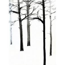 """Купить картину тушь """"Trees on the Kiev island"""" 30x24"""